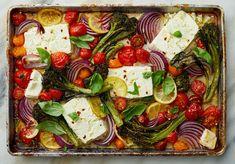 Sheet-Pan Baked Feta With Broccolini, Tomatoes and Lemon Recipe - NYT Cooking Vegetarian Main Dishes, Vegetarian Entrees, Vegetable Dishes, Lemon Recipes, Vegetable Recipes, Feta, Cooking Recipes, Healthy Recipes, Popular Recipes