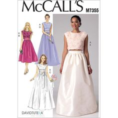 Misses Crop Top and Gathered Skirts McCalls Sewing Pattern 7355 | Sew Essential