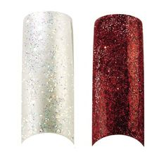 Bundle - 3 Items : Cala X2 Pack of 100 Red and Pearl White Glitter Professional Nail Tips (87823,87825)   Aviva Nail Kit * Click on the image for additional details.
