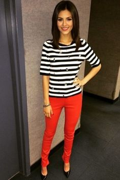 Victoria Justice wearing ASOS Stripe Sweater with Embellishment and J Brand L8001 Leather Super Skinny Jeans in Rebel Red