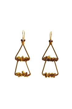 Classy and unique earrings that are wearable for any occasion. Earrings hold a jumble of brass beads wired to two overlapping brass triangles and measure 2 1/4 inches long.   Echo Brass Earrings by Nashelle. Accessories - Jewelry - Earrings Portland, Oregon