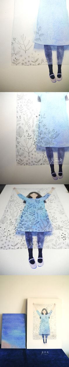 Idea: Paper Dolls as gouache on clear plastic?