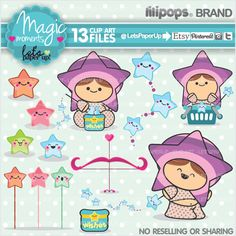 Stars Clipart Magic Clipart Clipart Kawaii Printable Set Clipart Pack Clipart Set Magic Wand Digital Paper Pack Digital Paper Set (4.90 USD) by LetsPaperUp