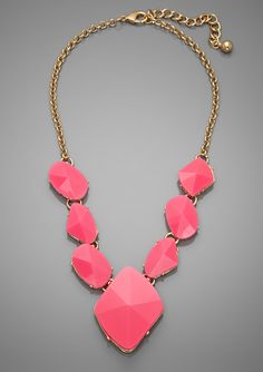 CARA COUTURE  Geometric Necklace  hot pink