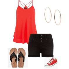 Plus-Size summer outfit. red layered tank top, black shorts and choice accessories. I'd wear with blue jeans bc I'm not a shorts person, but it's versatile so I love that in clothes by im-karla-with-a-k on Polyvore featuring polyvore fashion style Converse American Eagle Outfitters Michael Kors