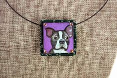 """Boston Terrier Hand-Illustrated Pendant – """"Oreo"""" - What a cute little dog! Sweet colored pencil illustration on copper, mounted on up-cycled circuit board. Jewelry that's art to wear and shows your love for the breed!"""