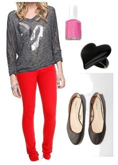 "Wild and Colorful Outfit! Perfect for a ""Girls Night Out"" Valentine's Day Outfit, Outfit Of The Day, Outfit Ideas, Bright Pants, Valentines Outfits, Themed Outfits, Red Pants, Colourful Outfits, Colorful"