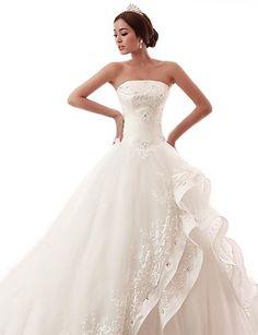 Strapless Train Lace Wedding Dress