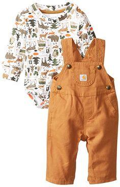 Carhartt Baby Boys' Canvas Bib Overall Set, Carhartt Brown, 24 Months
