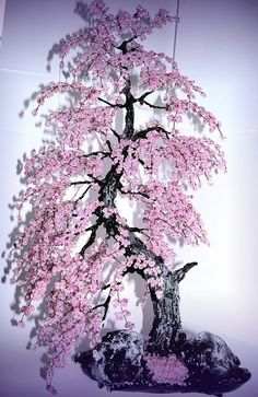 A cherry blossom bonsai tree! What a colorful spring and fall decoration. Wouldn't you like to add this to your home décor?