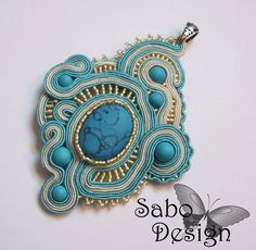 METEORA - mediterranean soutache pendant made by me.