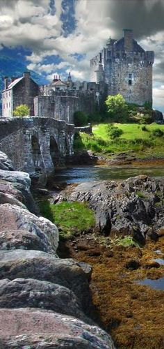 1719:Eilean Donan Castle ~ Scotland - The castle was founded in the 13th century, and became a stronghold of the Clan MacKenzie and their allies the Clan Macrae. In the early eighteenth century the MacKenzies' involvement in the Jacobite rebellions led in 1719 to the castle's destruction by government ships. LTC John Macrae-Gilstrap's 20th century reconstruction of the ruins produced the present buildings.