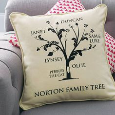 A personalised family tree cushion by a type of design.