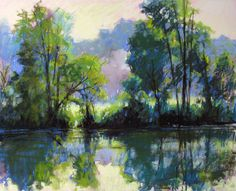 """Willeo Park Misty, Pastel Plein Air, 16"""" X 20"""" NFS ... and it won Best in Show at the 2010 Great Chattahoochee Paint Out. www.marshasavage.com"""