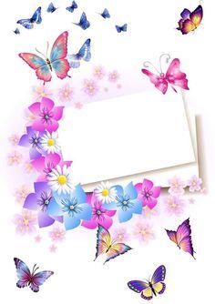 Convite comadre Framed Wallpaper, Wallpaper Iphone Cute, Butterfly Wallpaper, Butterfly Art, Flower Backgrounds, Wallpaper Backgrounds, Wallpapers, Flower Frame, Flower Art