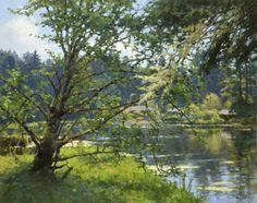 Jim McVicker Paintings: ' The Lake Paintings' Pond Painting, Lake Painting, Landscape Art, Landscape Paintings, Landscapes, Pastel Landscape, Nature Paintings, Impressionist Artists, California Art