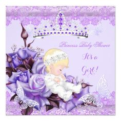 Baby Shower Girl Butterfly Lilac Lavender Rose 2