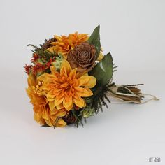 Fall Wedding Bouquet Silk and Dry Flower Bridal by Lot450shop