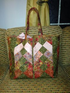 Tote bag from batik fabric using pattern from Whistlepig Creek.