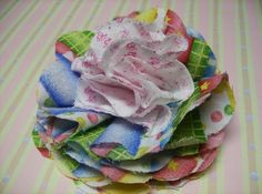 Frilly Fabric Flowers PDF Tutorial for by SundayGirlDesigns