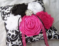 Ring Bearer Pillow  Black and White Damask with Hot by itsmyday, $40.00