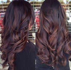 Dark brown hair with auburn lowlights