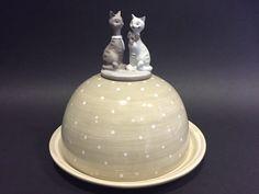 """Porta formaggi """"gatti"""" in ceramica Shabby Chic style"""