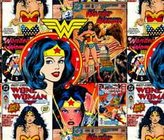 Wonder Woman comics fabric by retropopsugar on Spoonflower - custom fabric