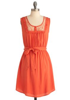Grove Stand Gal Dress - Mid-length, Casual, Orange, Bows, Lace, Ruffles, Sheath / Shift, Sleeveless