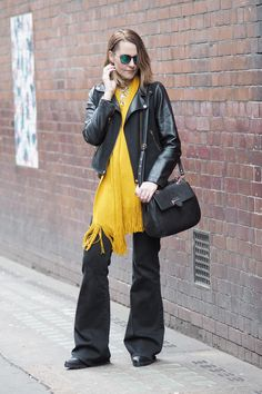 70's style flares and vibrant print top with mustard scarf.