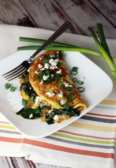 Spinach, Onion, and Goat Cheese Omelette | Ruled Me