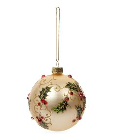 Beautifully ornamental and fabulously traditional, this classic matte gold bauble is lavishly decorated with glitter-encrusted holly and beaded berries. Best Christmas Tree Decorations, Painted Christmas Ornaments, Christmas Tree Baubles, Christmas Deco, How To Make Ornaments, Rustic Christmas, Christmas Crafts, Glass Ornaments, Christmas Inspiration