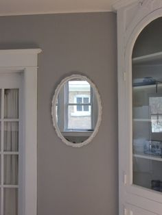 Essential grey paint from sherwin williams for guest room..pretty color as a accent wall in girls room.