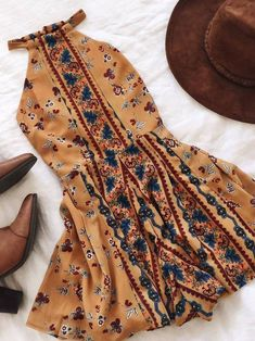 Warme Jahreszeit Look Outfits Blumendruck Boho Sommerkleid Mode Outfits, Fall Outfits, Casual Outfits, Fashion Outfits, Womens Fashion, Summer Outfits Boho Hipster, Hipster Dress, Floral Outfits, Dress Fashion