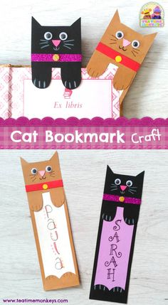 This cat bookmark craft is really simple and quick to make, and looks really cute peeking out from between the pages of a book! This cat bookmark craft is really simple and quick to make, and looks really cute peeking out from between the pages of a book! Bookmarks Diy Kids, Creative Bookmarks, Bookmark Craft, Handmade Bookmarks, Corner Bookmarks, Bookmark Making, Bookmark Ideas, Paper Bookmarks, How To Make Bookmarks