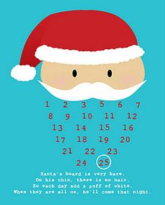 Add a cotton ball a day - once his beard is full, it's Christmas Eve advent printable free calendar Santa Claus toddler kid countdown fun