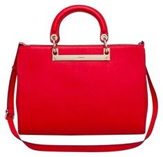 DKNY Saffiano Leather New Tote in Red
