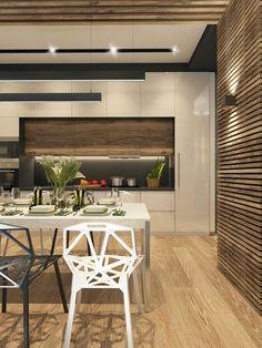 Дизайн пентхауса выполнен в современном стиле. Панорамные окна объединяют интерьер с экстерьером. С просторной кухни - гостиной осуществляется выход на террасу. На террасе организована большая зона отдыха для просмотра tv, также два лежака и небольшая ман…