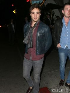 Ed Westwick seen leaving Chateau Marmont in West Hollywood. October 17, 2013.