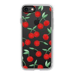 Cherry Bomb Red Watercolor Cherries - iPhone 7 Case, iPhone 7 Plus... ($40) ❤ liked on Polyvore featuring accessories, tech accessories, phone cases, black, red, iphone case, apple iphone case, iphone cases, red iphone case and iphone cover case
