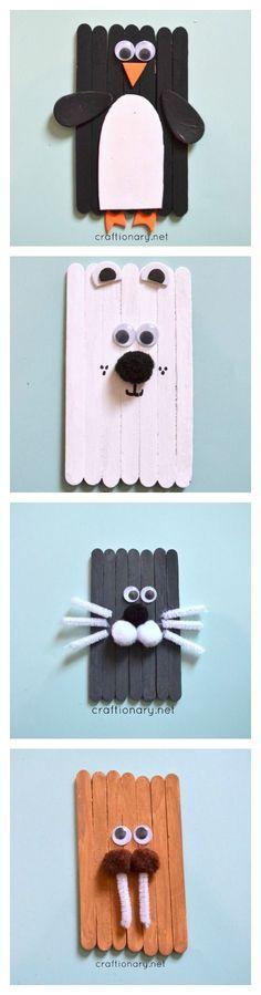 Popsicle stick polar bear:
