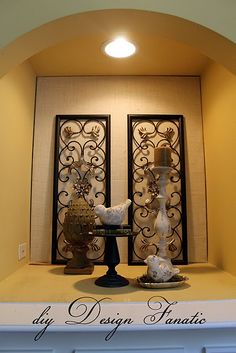 65 best Niche decor images on Pinterest   Art niche  Niche decor and     Burlap in a niche    I like this idea  but not necessarily those colors