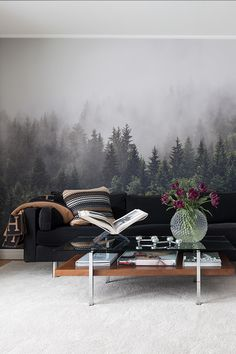 Buy non-wowen beautiful landscape black and white forest wallpaper mural to decorate a living room, bedroom, office or another living space of your choice. Unique Wallpaper, Textured Wallpaper, Wall Wallpaper, Wallpaper Ideas, Feng Shui, Forest Mural, Photo Mural, Forest Wallpaper, Elegant Living Room