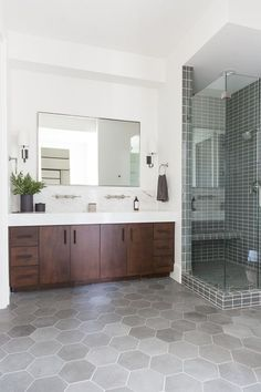 Bathroom, walk-in shower, tile, wood vanity Shower Tile, Bathroom Interior Design, Bathroom Red, Bathroom Vanity, Small Bathroom, Bathroom Renovations, Amazing Bathrooms, Tile Remodel, Bathroom Shower
