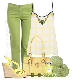 Lime & Yellow by celinecucci on Polyvore featuring Topshop, Raxevsky, JustFabulous, L.K.Bennett, Sequin, 1928, Chanel and Tinley Road