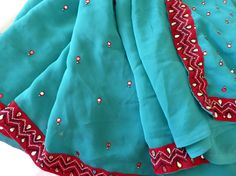 Vintage Turquoise & Red Sari, Turquoise India Saree Wrap with Lush Hand Beaded Accents, Vintage Dark Turquoise India Silky Sari by MyFrenchTexas on Etsy