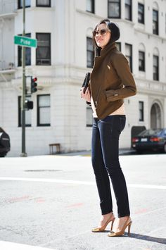 Halfway - 9to5Chic jacket by H&M; heels by Yves Saint Laurent