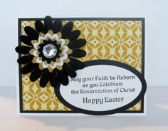 Handmade Easter Card.  Black, gold and white with flower.