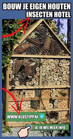 Zelf een insectenhotel maken met een bouwtekening? lees verder >> Insect Hotel, Activities For Kids, Hotels, House Styles, Nature, Projects, Diy, Gardening, Children