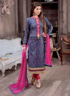 Blue Printed Cotton Straight Suit
